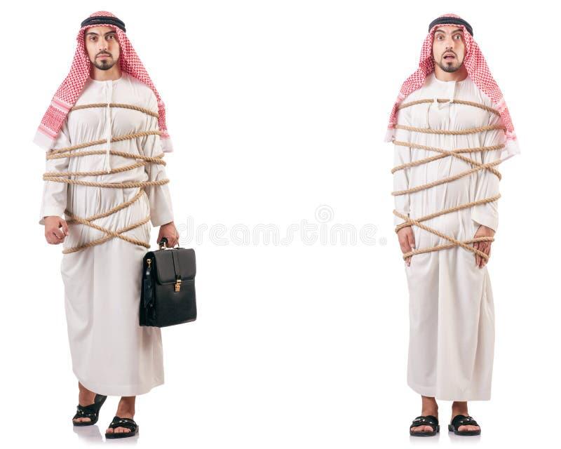 L'uomo arabo legato con la corda immagine stock
