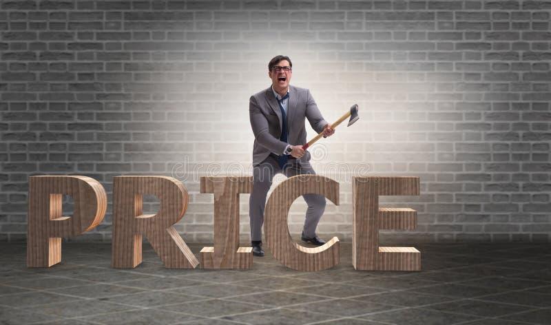 L'uomo arrabbiato con l'ascia che riduce la parola di prezzi illustrazione vettoriale