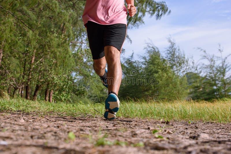 L'uomo asiatico che corre sul sentiero nel bosco durante il tramonto, si chiude sulle gambe e sui piedi fotografia stock