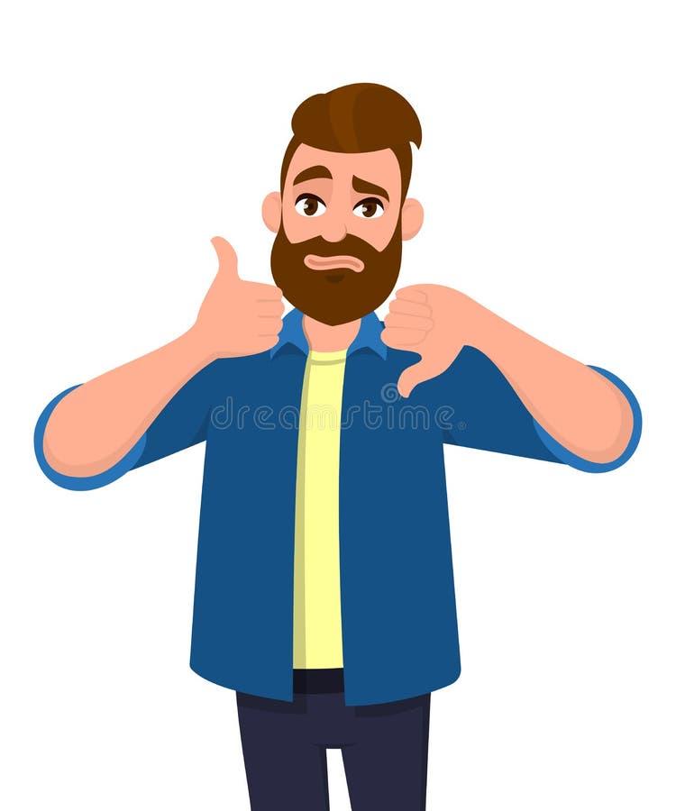 L'uomo barbuto che mostrano i pollici su ed i pollici giù gesture o firmano Come e l'avversione, tratta e nessun affare, acconsen illustrazione vettoriale