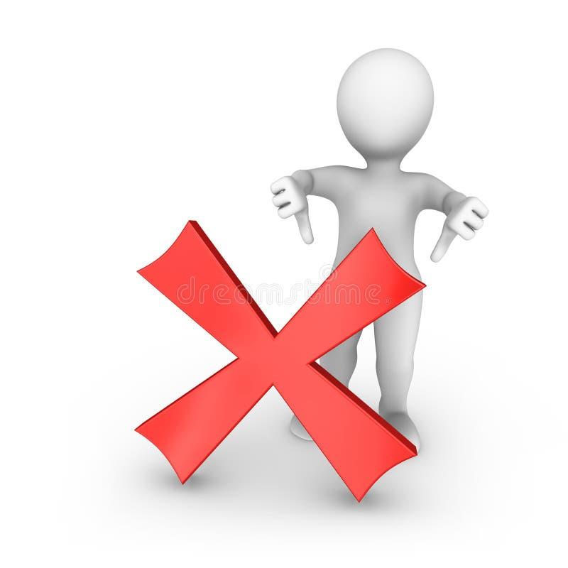 l'uomo bianco 3d con il simbolo negativo mostra i pollici giù illustrazione vettoriale