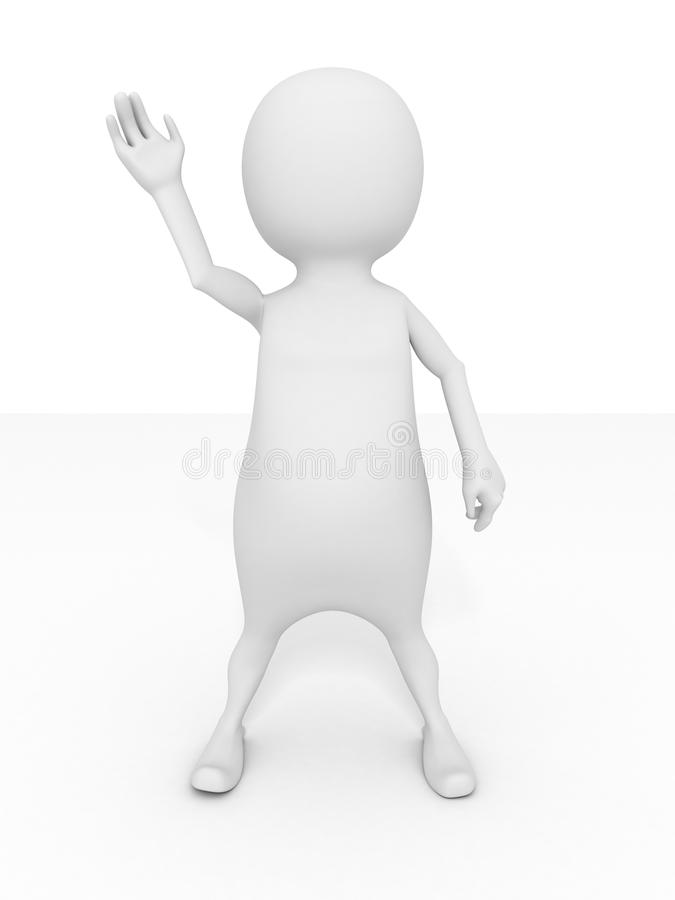 L'uomo bianco 3d ha sollevato la sua mano royalty illustrazione gratis