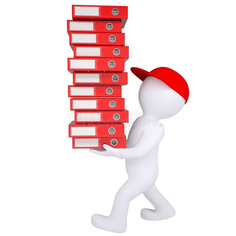 l'uomo bianco 3d porta la pila di cartelle dell'ufficio illustrazione di stock
