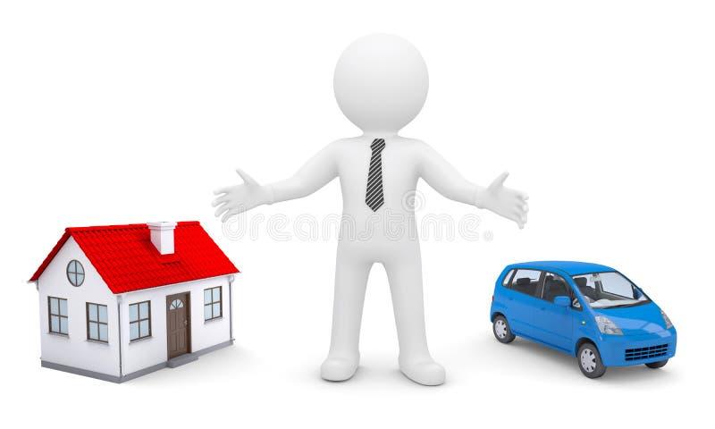 L'uomo bianco indica le sue mani sulla casa e sull'automobile royalty illustrazione gratis