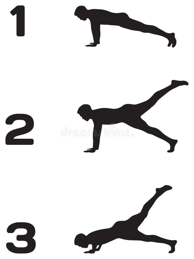 L'uomo che fare spinge aumenta in tre siluette di punti illustrazione vettoriale