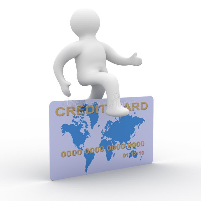 L'uomo che salta una carta di credito. illustrazione vettoriale