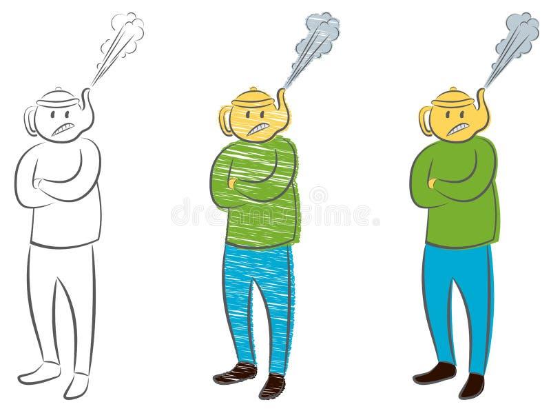 L'uomo con il bollitore invece di una testa con un vapore ha estratto Concetto di rabbia Uomo d'affari arrabbiato del responsabil illustrazione vettoriale