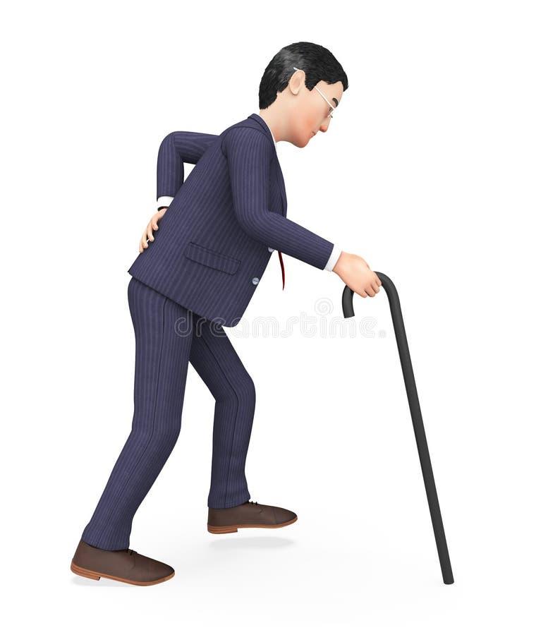 L'uomo con il mal di schiena rappresenta l'agonia Pang And Men royalty illustrazione gratis