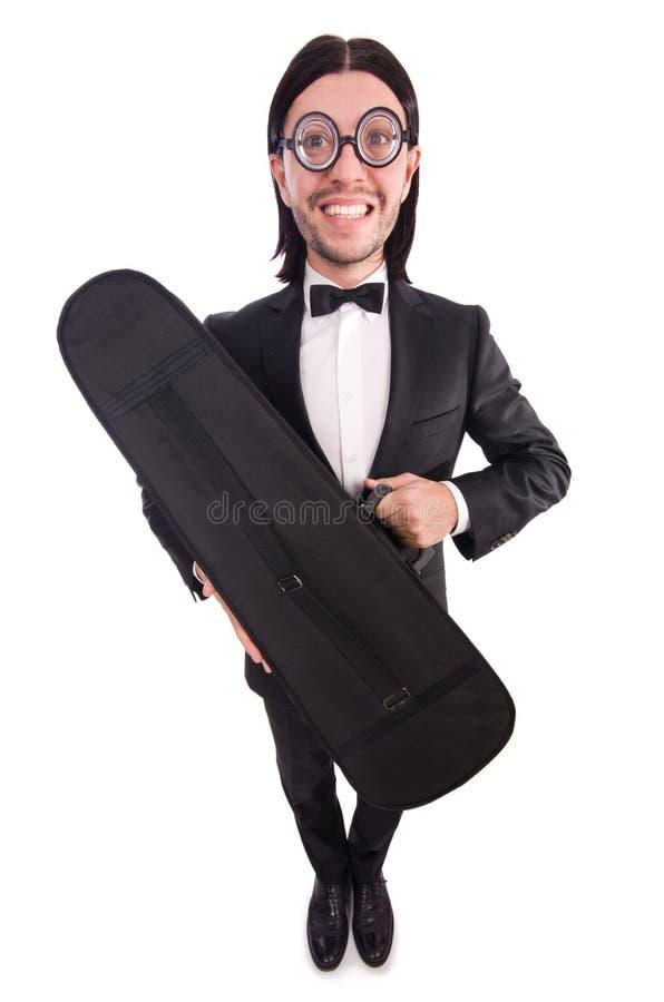 L'uomo con la cassa del violino isolata su bianco fotografie stock libere da diritti