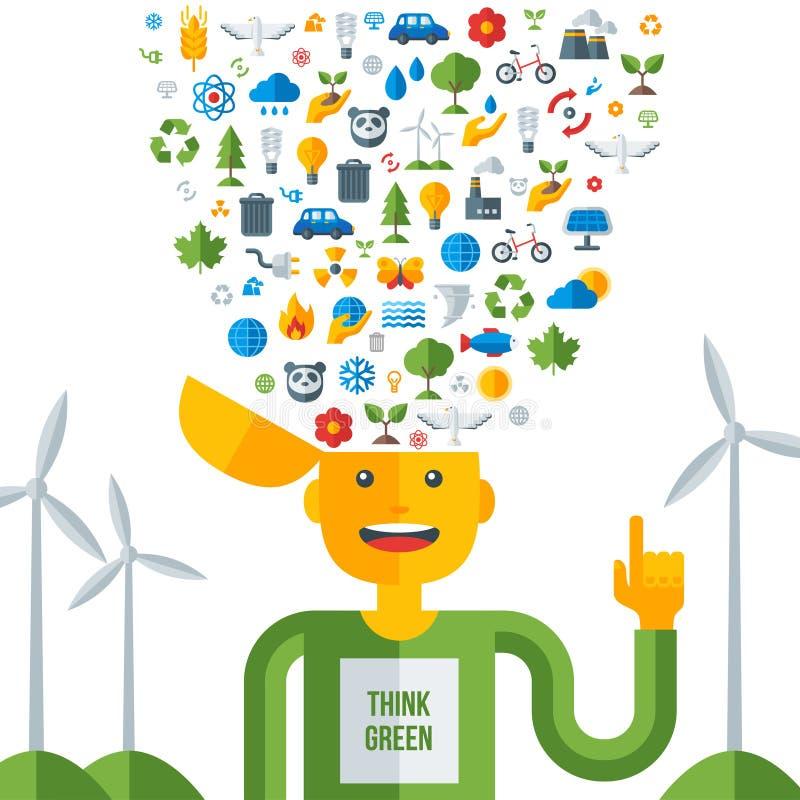 L'uomo con le icone dell'ecologia nel suo testa, pensa il verde illustrazione vettoriale