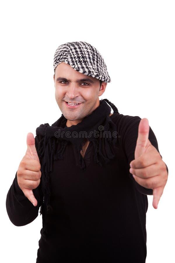 L'uomo con le sue mani aumenta in su come segno di tutto immagine stock