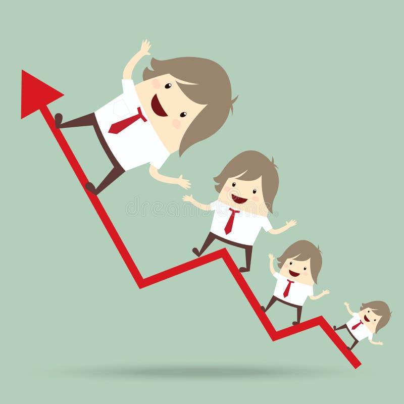 L'uomo d'affari è felice e corrente su sul grafico crescente della freccia rossa, illustrazione vettoriale