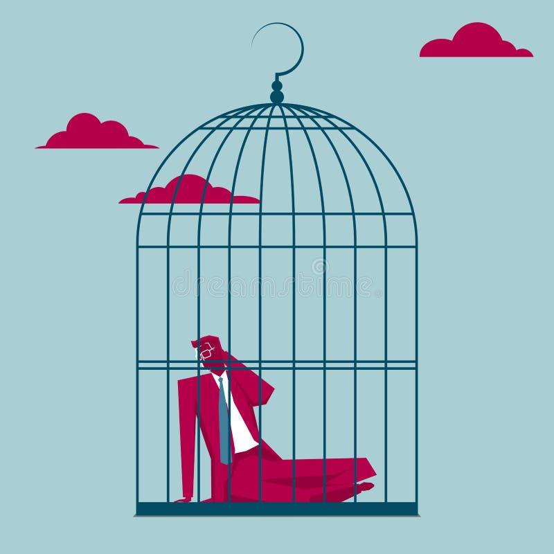 L'uomo d'affari è stato bloccato in una gabbia per uccelli illustrazione di stock