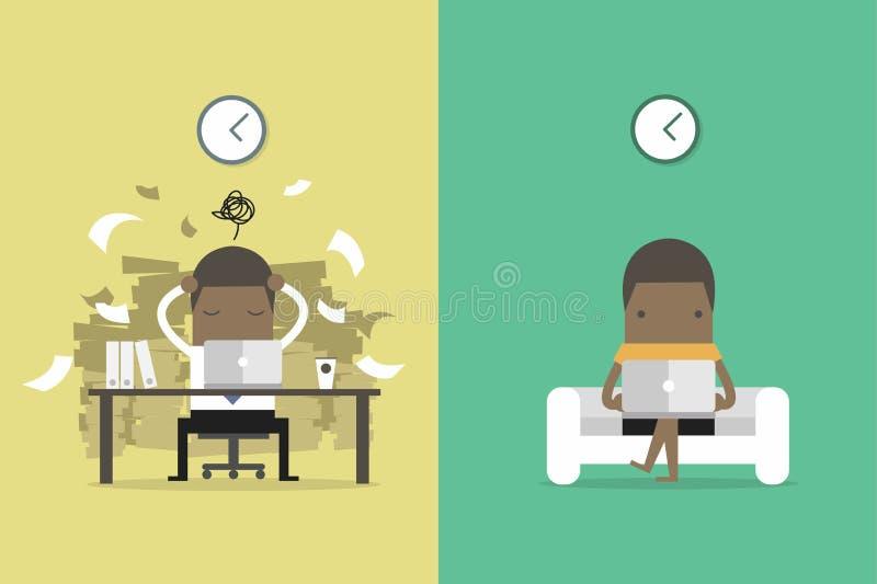 L'uomo d'affari africano ottiene le risposte dall'altra gente Uomo d'affari africano e vita indipendente Fumetto di concetto di a illustrazione vettoriale