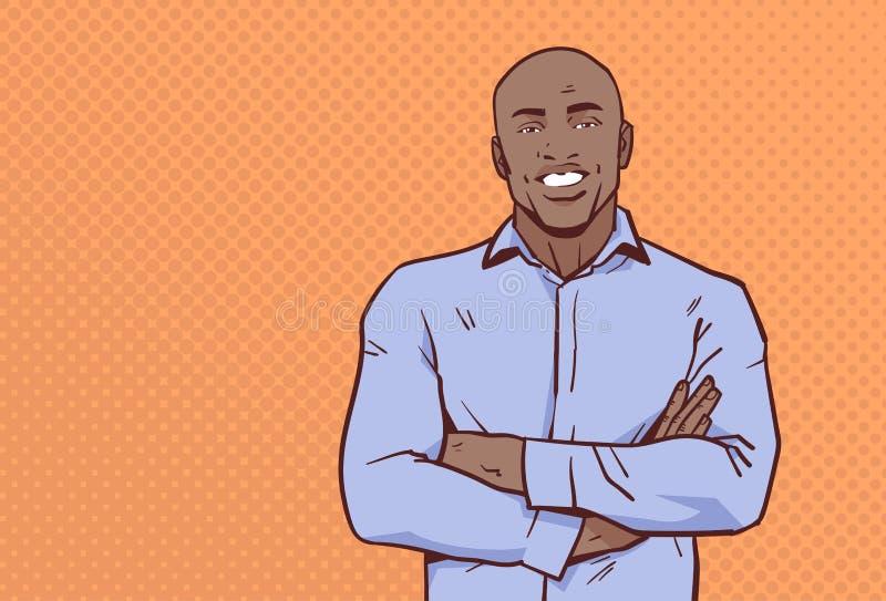 L'uomo d'affari afroamericano ha piegato le mani posa lo stile maschio di Pop art del ritratto del personaggio dei cartoni animat royalty illustrazione gratis
