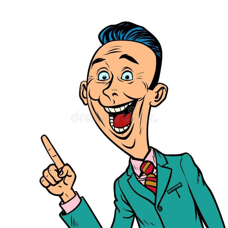 L'uomo d'affari allegro entusiasta indica il gesto del dito illustrazione vettoriale