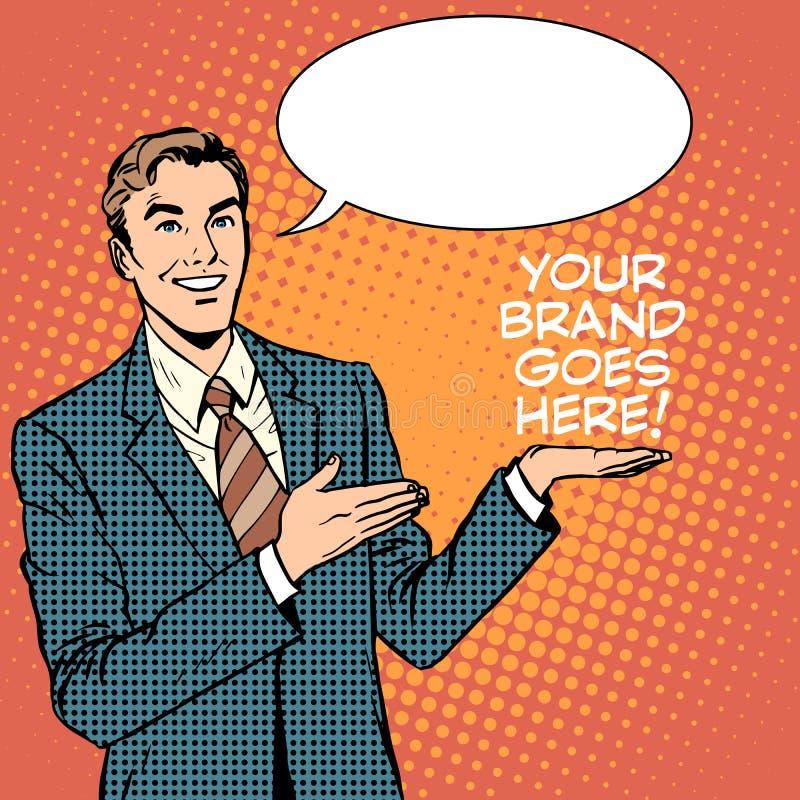 L'uomo d'affari annuncia la vostra marca va qui royalty illustrazione gratis