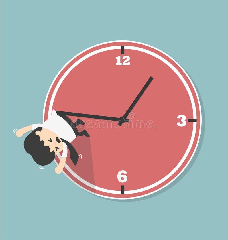 L'uomo d'affari appende su una freccia dell'orologio illustrazione di stock