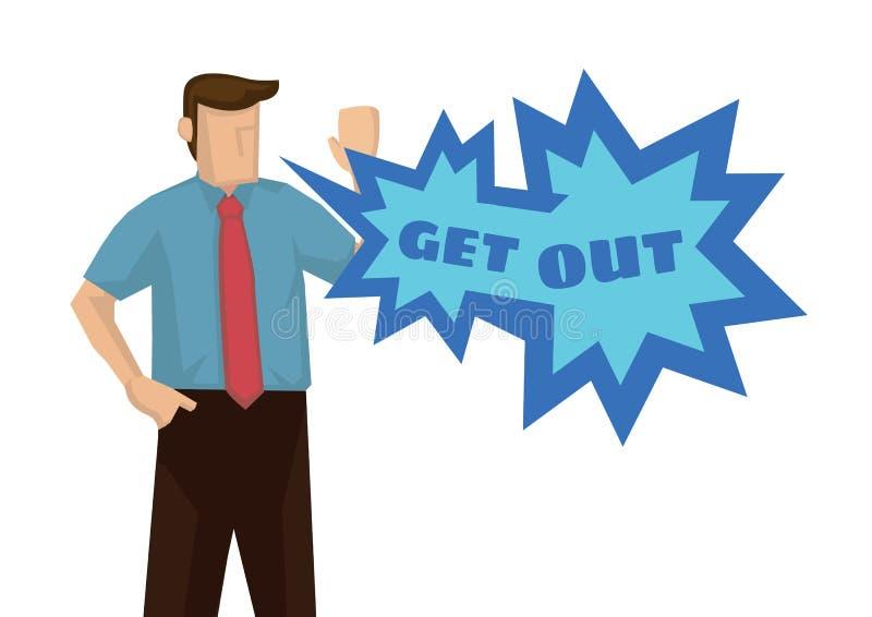 L'uomo d'affari arrabbiato emozionale con un fumetto di esce Concetto della discussione o del conflitto corporativo illustrazione di stock