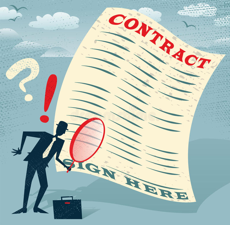 L'uomo d'affari astratto ispeziona il contratto royalty illustrazione gratis