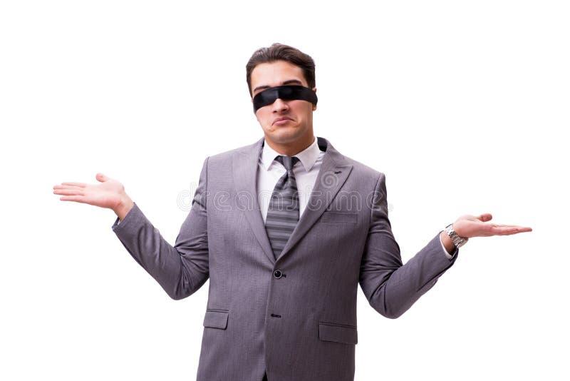 L'uomo d'affari bendato isolato su bianco fotografie stock