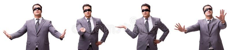 L'uomo d'affari bendato isolato su bianco fotografie stock libere da diritti