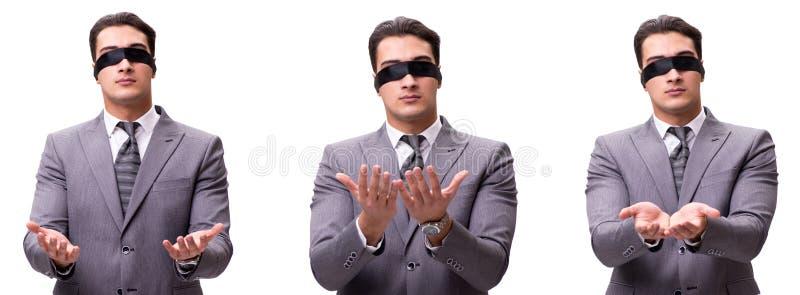 L'uomo d'affari bendato isolato su bianco fotografia stock
