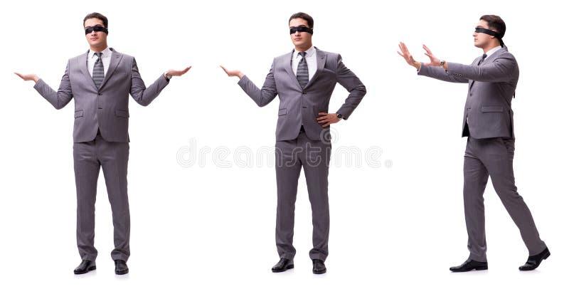 L'uomo d'affari bendato isolato su bianco immagine stock libera da diritti
