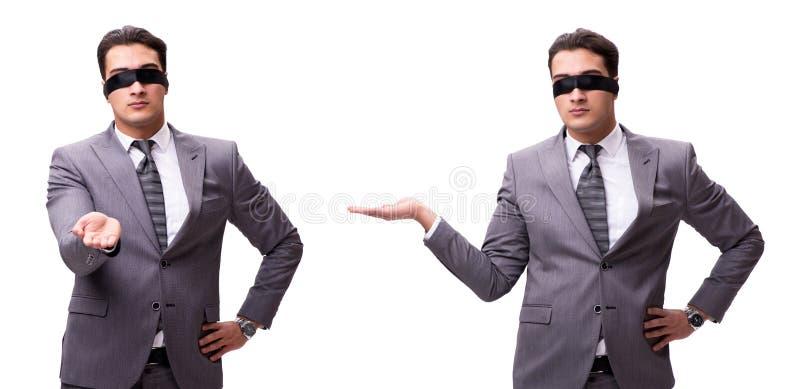 L'uomo d'affari bendato isolato su bianco immagini stock libere da diritti