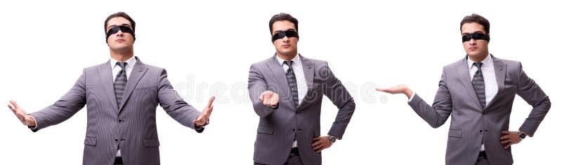 L'uomo d'affari bendato isolato su bianco immagine stock