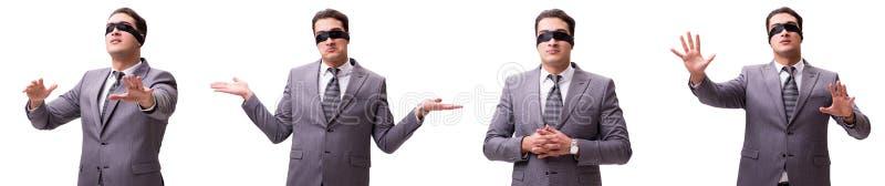 L'uomo d'affari bendato isolato su bianco fotografia stock libera da diritti