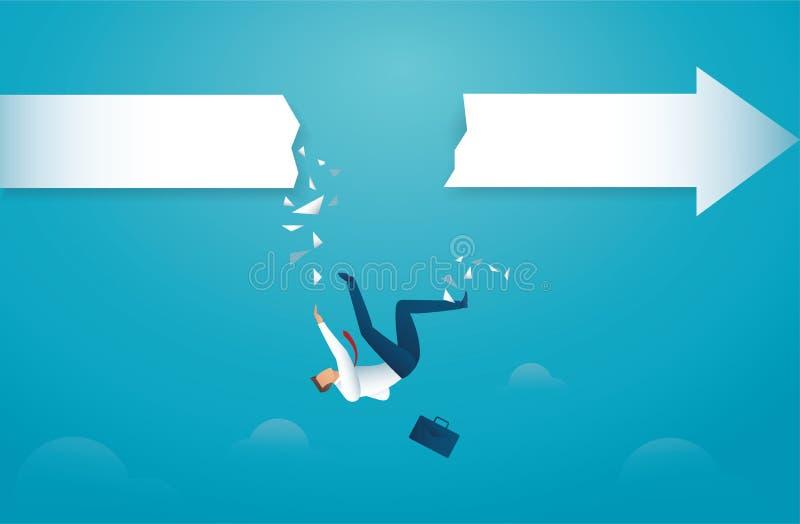 L'uomo d'affari cade dalla freccia concetto nel fallimento di crisi di abisso Vettore eps10 illustrazione vettoriale