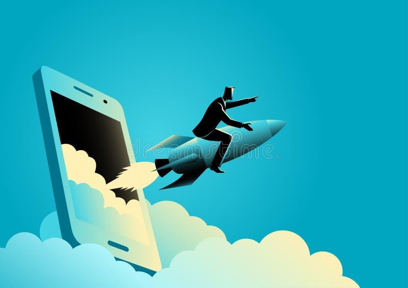 L'uomo d'affari che guida un razzo esce dallo schermo degli Smart Phone illustrazione vettoriale