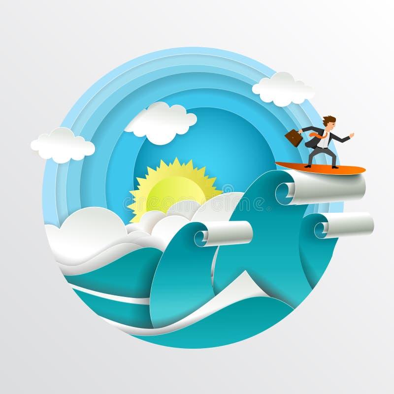 L'uomo d'affari che pratica il surfing sulla carta di vettore di onde ha tagliato l'illustrazione illustrazione vettoriale