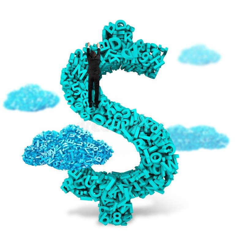 L'uomo d'affari che sale sul dollaro firma la forma della moneta, caratteri 3d grandi immagini stock libere da diritti