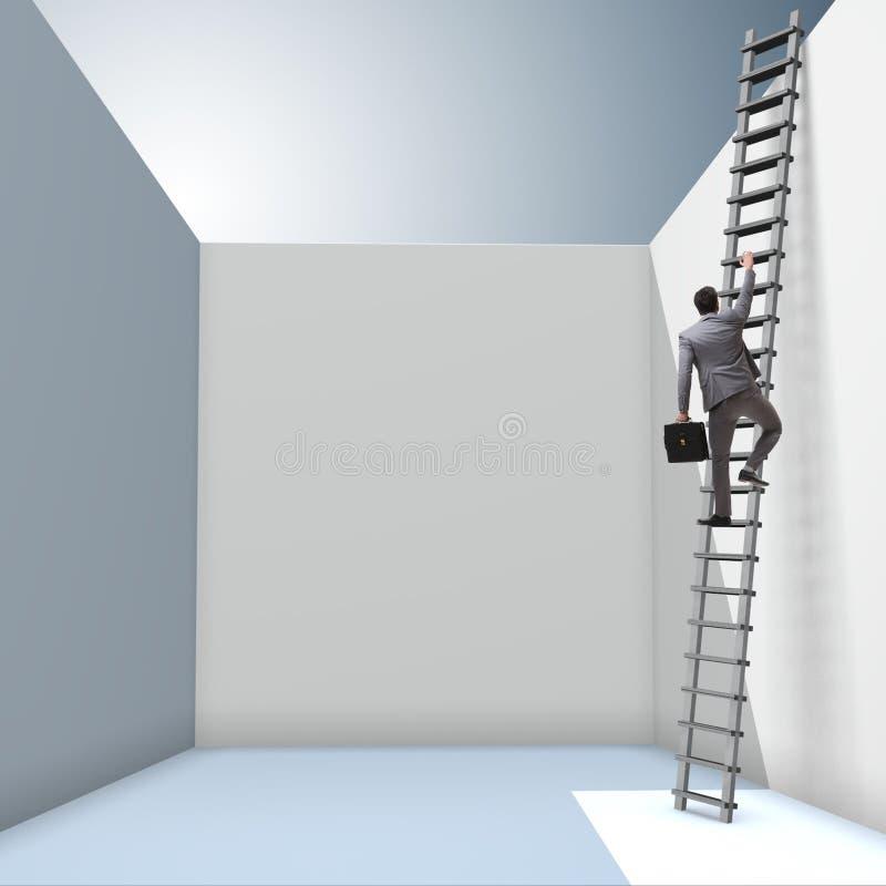 L'uomo d'affari che sale una scala per sfuggire a dai problemi royalty illustrazione gratis