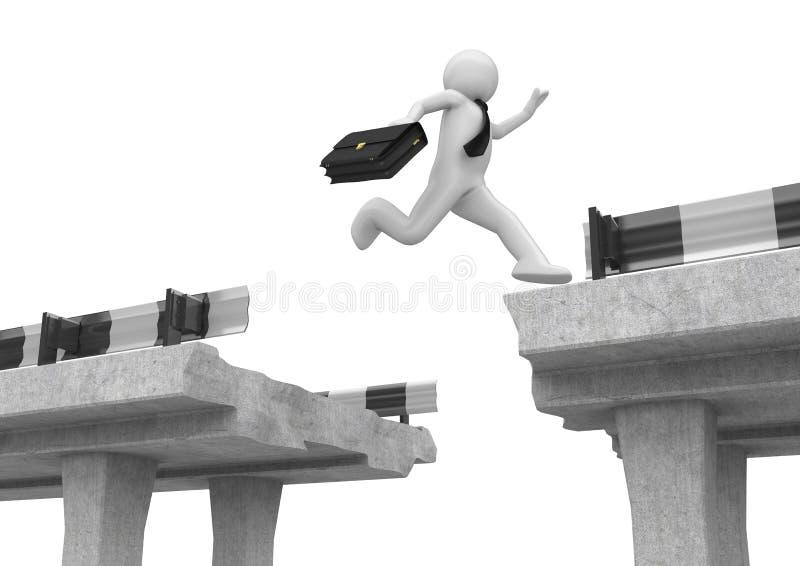 L'uomo d'affari che salta sopra lo spacco della strada royalty illustrazione gratis