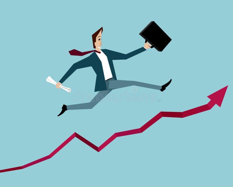 L'uomo d'affari che salta su sopra il grafico di successo royalty illustrazione gratis