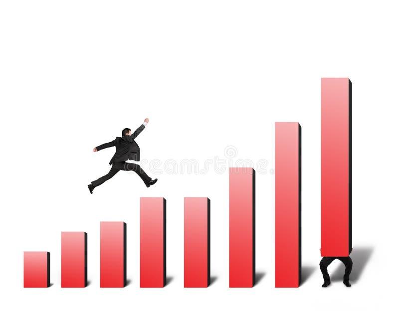 L'uomo d'affari che salta sull'istogramma rosso con un altro ascensore uno royalty illustrazione gratis