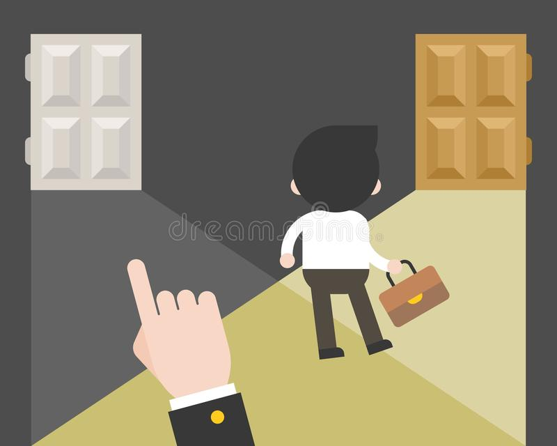 L'uomo d'affari che sceglie il suo percorso di carriera solo senza segue la b illustrazione di stock