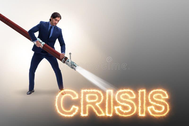 L'uomo d'affari che si occupa con successo della crisi e della recessione immagini stock libere da diritti