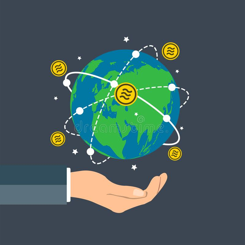 L'uomo d'affari che tiene il globo della terra, tenuta della mano del grafico di crescita di concetto della moneta della Bilancia illustrazione vettoriale