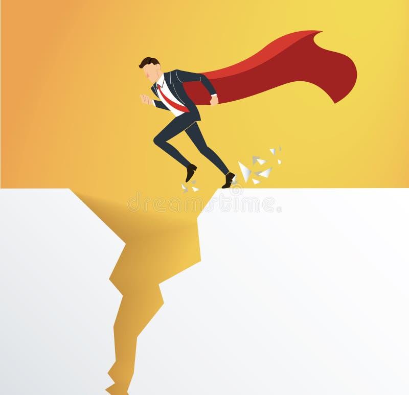 L'uomo d'affari con capo sormonta il concetto di rischio di crisi di ostacolo illustrazione vettoriale