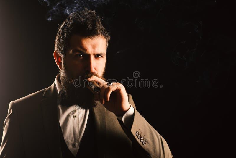 L'uomo d'affari con il fronte sicuro fuma il sigaro cubano immagine stock libera da diritti