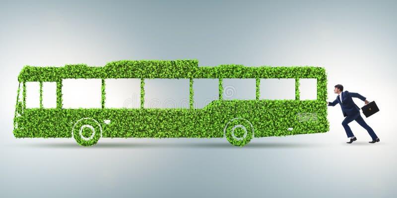 L'uomo d'affari con il veicolo ecologico verde illustrazione di stock
