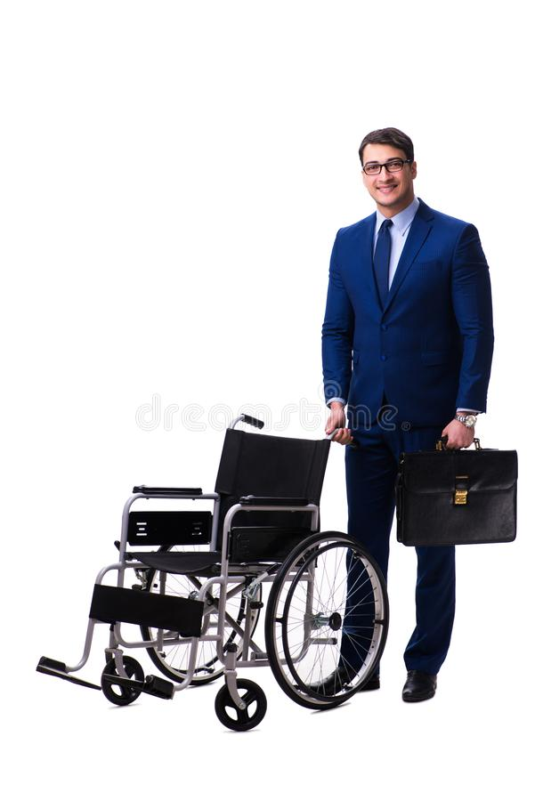 Download L'uomo D'affari Con La Sedia A Rotelle Isolata Su Fondo Bianco Fotografia Stock - Immagine di disabled, imprenditore: 117976052