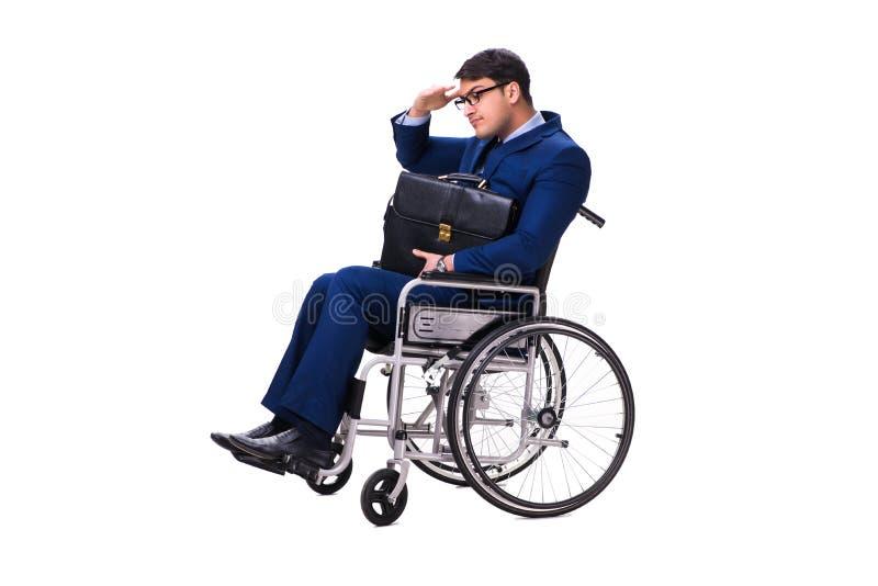 Download L'uomo D'affari Con La Sedia A Rotelle Isolata Su Fondo Bianco Immagine Stock - Immagine di background, imprenditore: 117976075