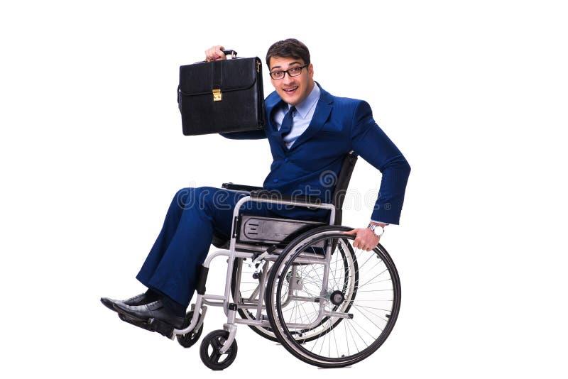 Download L'uomo D'affari Con La Sedia A Rotelle Isolata Su Fondo Bianco Immagine Stock - Immagine di briefcase, danneggiato: 117976079