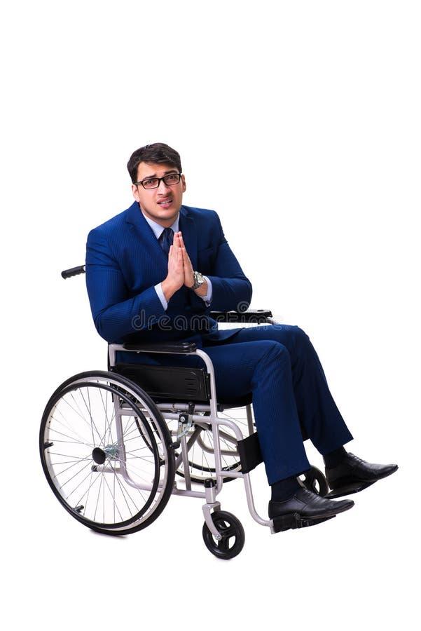 Download L'uomo D'affari Con La Sedia A Rotelle Isolata Su Fondo Bianco Immagine Stock - Immagine di occupazione, ferita: 117976111