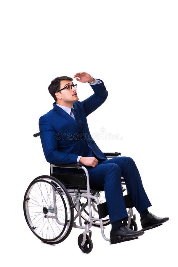 Download L'uomo D'affari Con La Sedia A Rotelle Isolata Su Fondo Bianco Fotografia Stock - Immagine di assistenza, imprenditore: 117976118